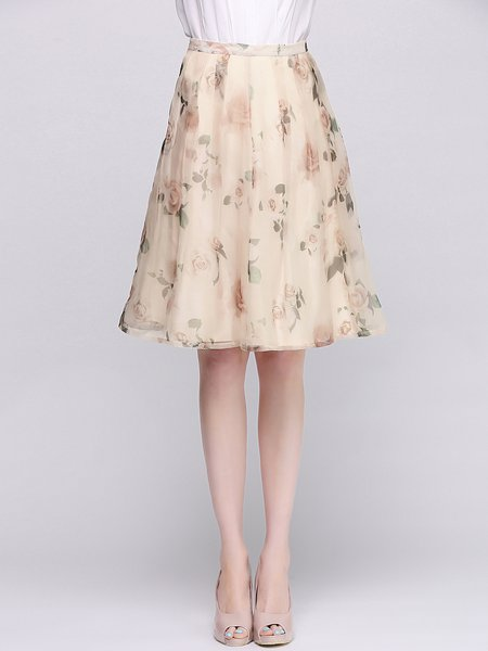 Silk Pink Floral Printed A-line Casual Midi Skirt - StyleWe.com