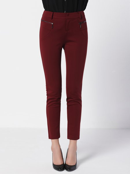 Burgundy Plain Casual Sheath Skinny Leg Pants