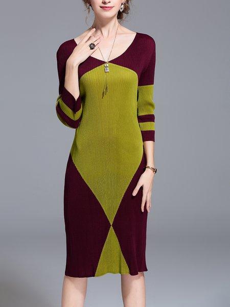 3/4 Sleeve Casual V Neck Sheath Color-block Midi Dress