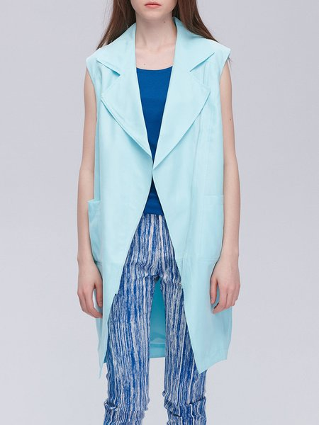 H-line Zipper Casual Sleeveless Lapel Vests And Gilet