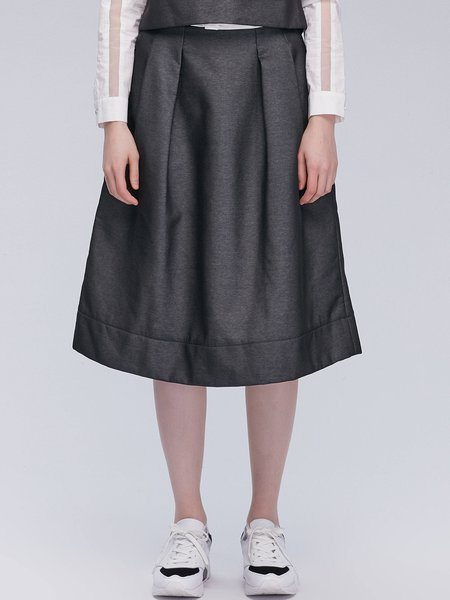 Solid Casual Folds Cotton-blend Midi Skirt