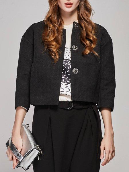 Black Solid Simple Cropped Jacket