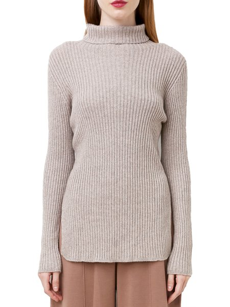 Knitted Slit Cotton-blend Casual Sweater
