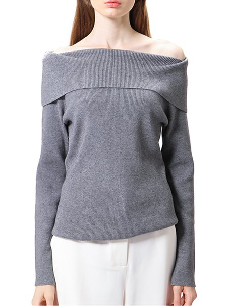 Knitted Long Sleeve Plain Sheath Off Shoulder Sweater