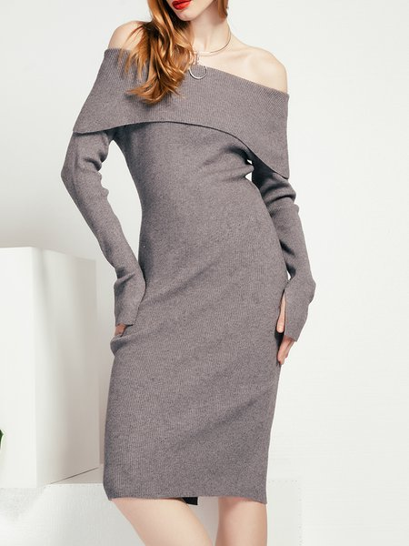 Sheath Long Sleeve Off Shoulder Knitted Sweater Dress