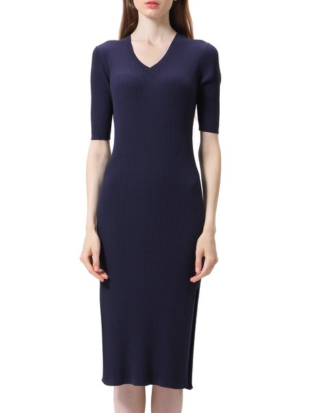 Navy Blue Short Sleeve Knitted Slit Sweater Dress