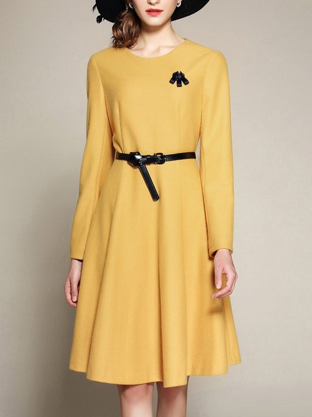 Elegant Solid A-line Midi Dress