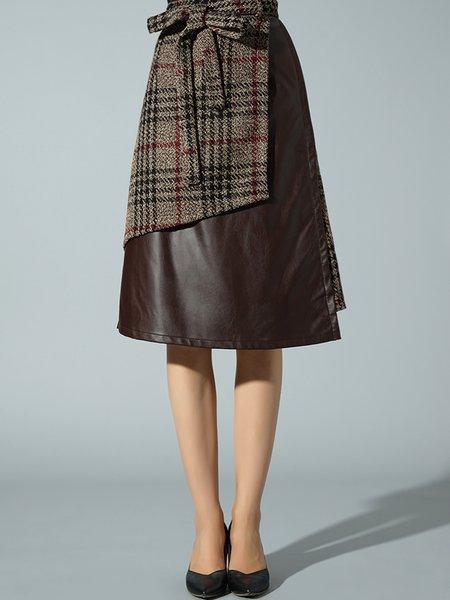 Paneled A-line Woven PU Elegant Midi Skirt