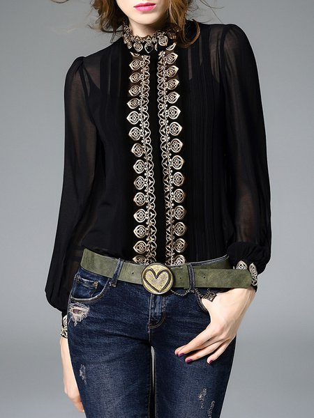 Black H-line Long Sleeve Stand Collar Embroidered Two Piece Blouse