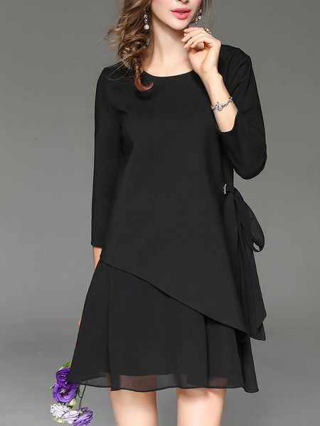 Black Crew Neck Casual Cotton-blend Mini Dress