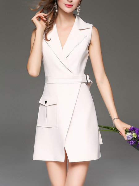 Beige Elegant Slit Plain Lapel Mini Dress With Belt