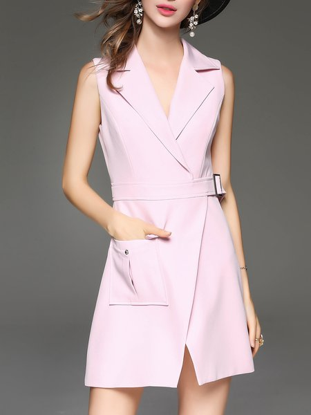 Elegant Sleeveless A-line Mini Dress With Belt