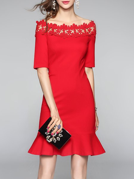 Red Off Shoulder Elegant Flounce Guipure Lace Mini Dress