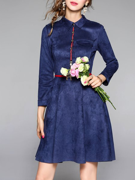Shirt Collar Elegant Long Sleeve A-line Pockets Midi Dress