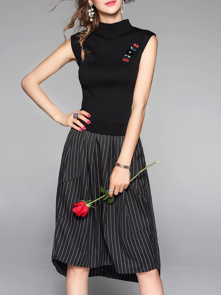 Slit Stripes High Low Sleeveless Midi Dress