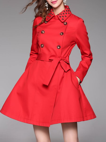 Red A-line Long Sleeve Trench Coat - StyleWe.com