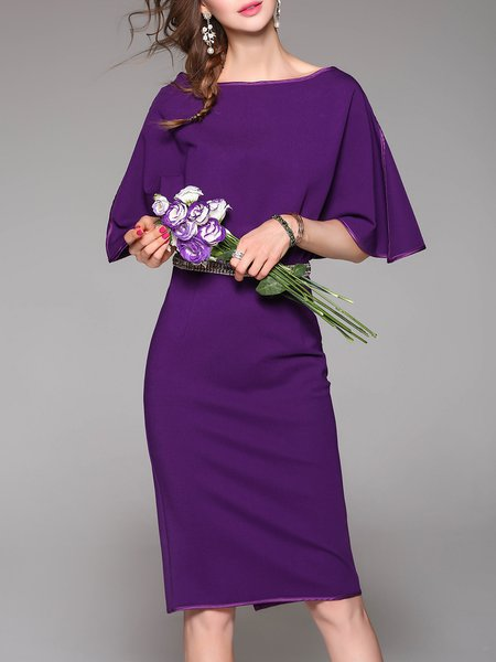 Purple Batwing Polyester Sheath Gathered Midi Dress