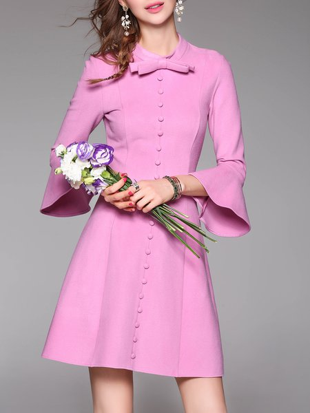 Bow Stand Collar Long Sleeve Simple Plain A-line Mini Dress