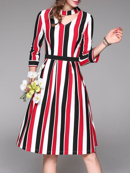 Red Long Sleeve A-line Cutout Stripes Midi Dress