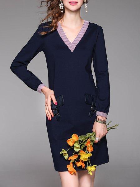 Dark Blue Long Sleeve Plain Mini Dress