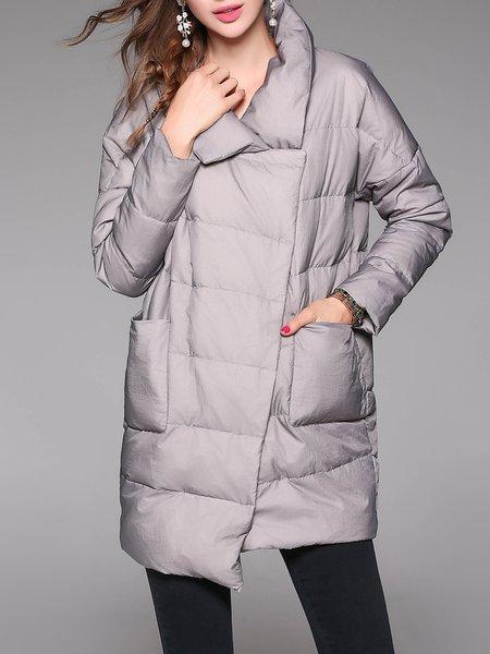 Gray Turtleneck Long Sleeve Plain Asymmetric Pockets Down Coat