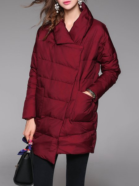 Long Sleeve H-line Casual Asymmetric Plain Down Coat