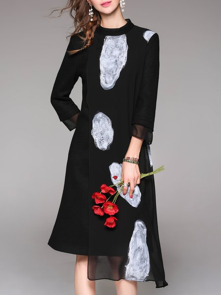 Black H-line Appliqued Vintage Wool Blend Midi Dress