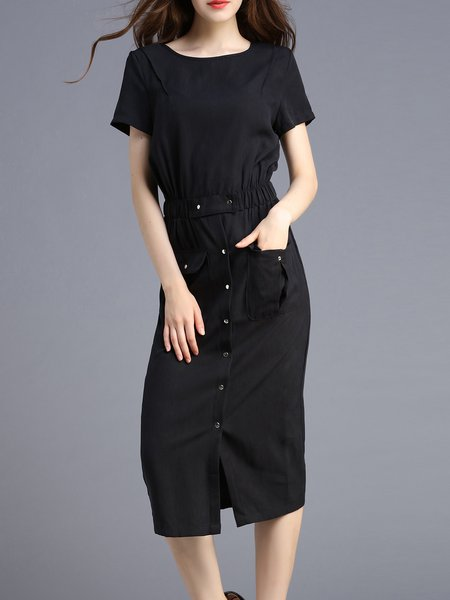 Black Polyester Short Sleeve Crew Neck Midi Dress