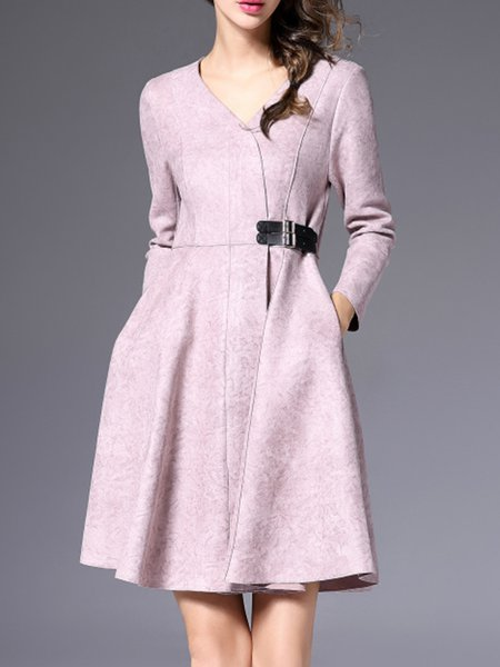 Lavender V Neck Faux Suede Plain Elegant Wrap Dress