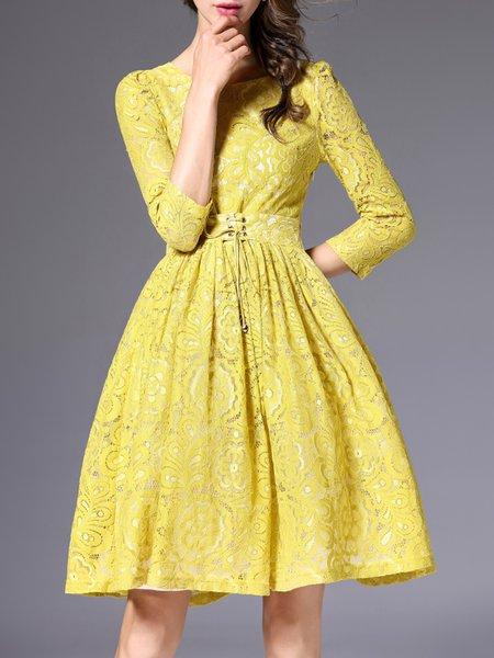 Yellow 3/4 Sleeve A-line Guipure Lace Midi Dress