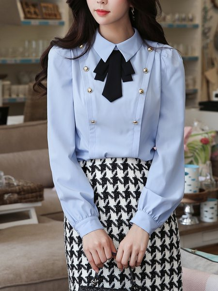 Sky Blue Girly Buttoned Solid Long sleeve Shirt Collar Blouse