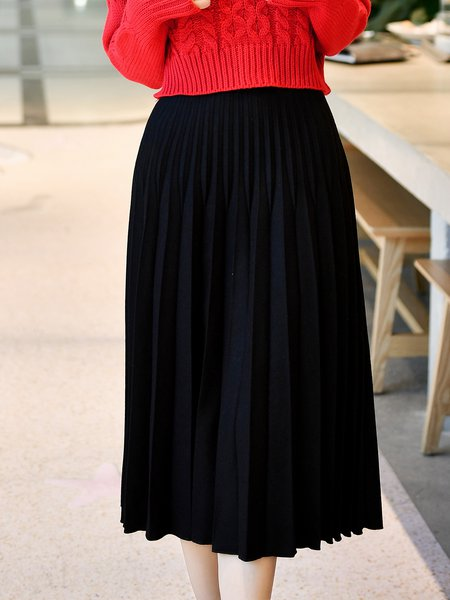 Casual Pleated Solid Midi Skirt