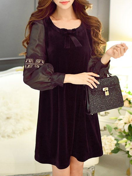 Black A-line Plain Balloon Sleeve Bow Mini Dress