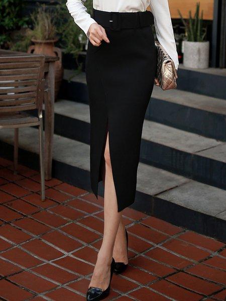 Black Bodycon Elegant Solid Slit Midi Skirt With Belt
