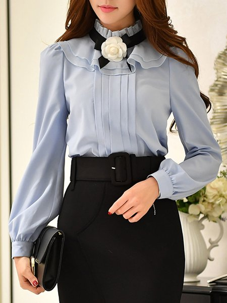Blue Bow Ruffled Girly Solid Blouse