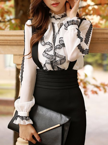 Frill Sleeve Lace Paneled Plain Ruffled Girly Blouse