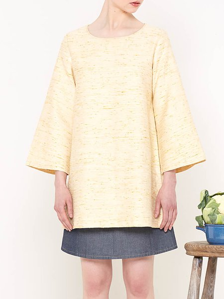 Plain Casual Silk 3/4 Sleeve Tunic
