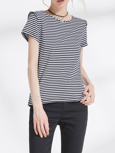 Black-white H-line Short Sleeve T-Shirt