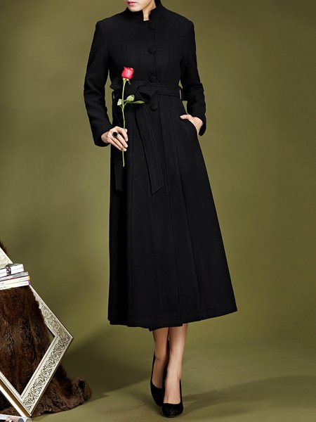 Work Wool Blend Shift Long Sleeve Coat With Belt