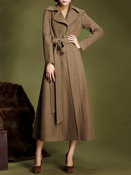 Brown Lapel Plain Shift Long Sleeve Coat