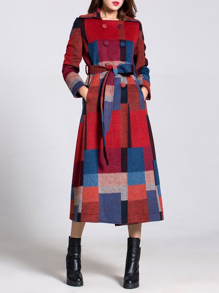Multicolor Long Sleeve Checkered/Plaid Lapel Coat