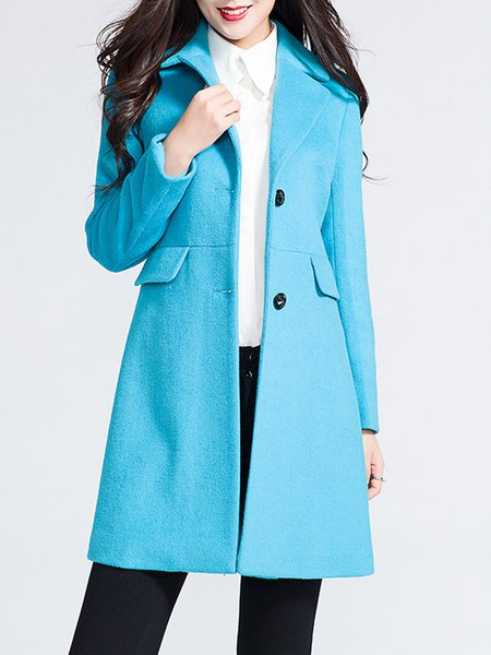 Light Blue H-line Plain Elegant Buttoned Coat