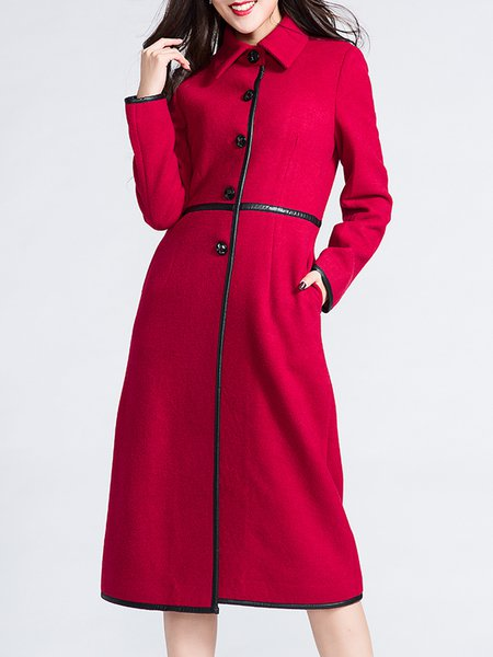 Red Long Sleeve Buttoned Lapel Wool Coat