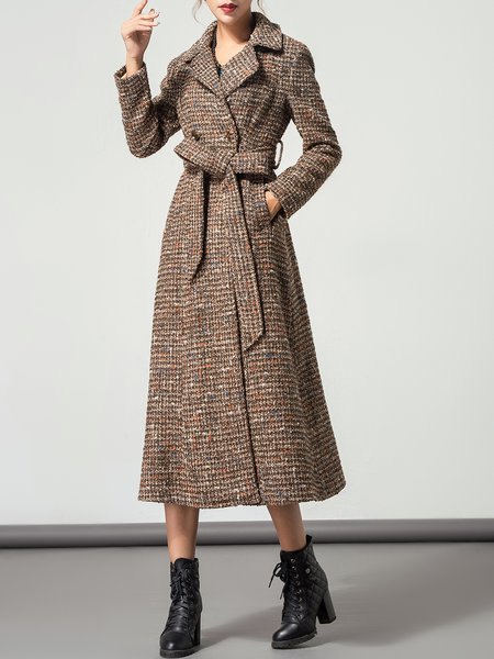 Brown Lapel Belt Long Sleeve Shift Coat