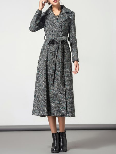 Gray Lapel Pockets Long Sleeve Wool Coat