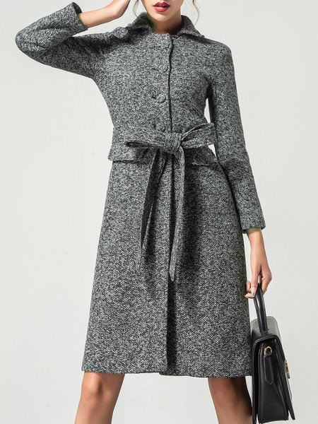 Light Gray Shift Buttoned Elegant Plain Coat