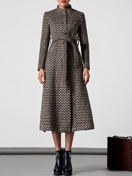Long Sleeve Work Houndstooth Shift Coat