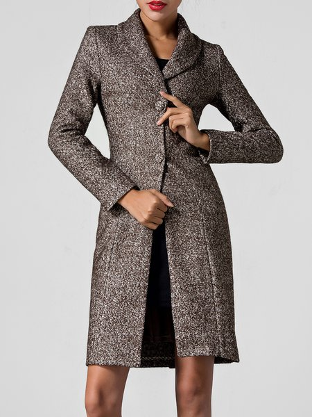 Lapel Elegant Pockets Long Sleeve H-line Coat