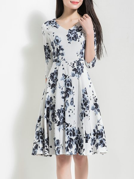White V Neck Elegant Floral Cotton-blend Midi Dress