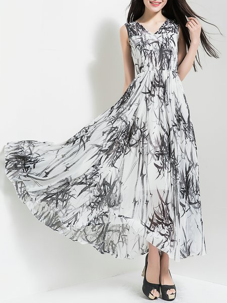 White Sleeveless Chiffon Printed Holiday Dress